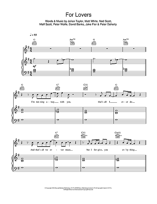 For Lovers (feat. Pete Doherty) Sheet Music