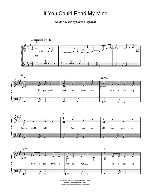 If You Could Read My Mind Sheet Music