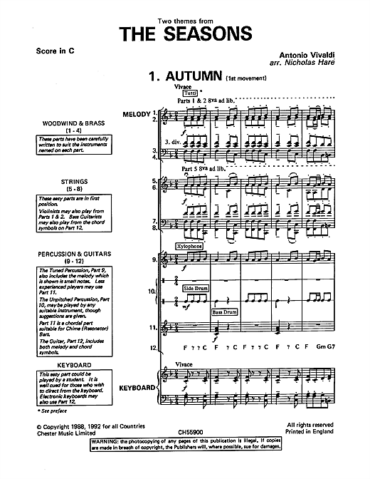 Partition autre Autumn and Winter (from The Four Seasons) de Antonio Vivaldi - Ensemble Orchestral College/Lycee