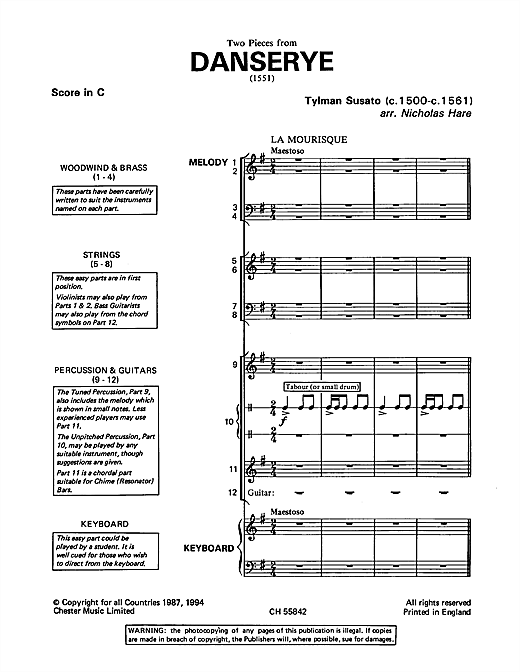 Partition autre La Mourisque and Ronde (from 'Danserye') de Tylman Susato - Ensemble Orchestral College/Lycee
