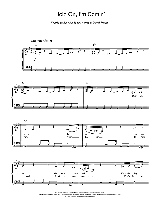 Hold On, I'm Comin' Sheet Music