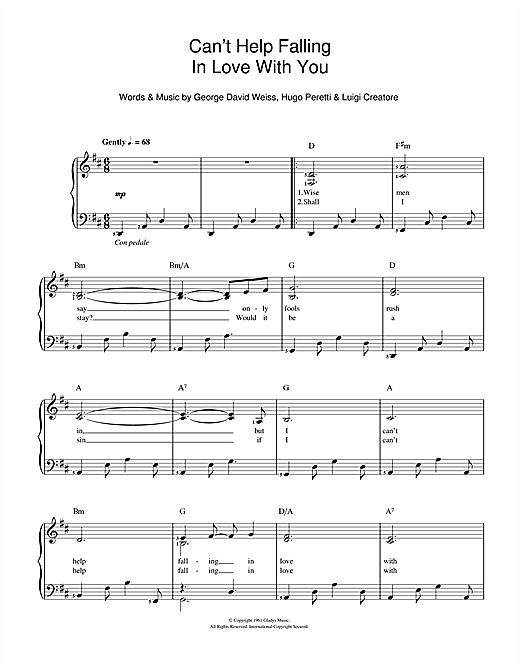Can't Help Falling In Love Sheet Music