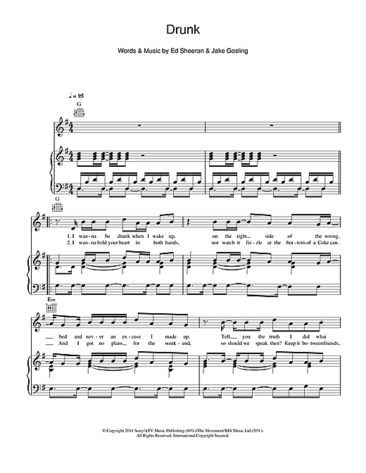 Drunk Sheet Music