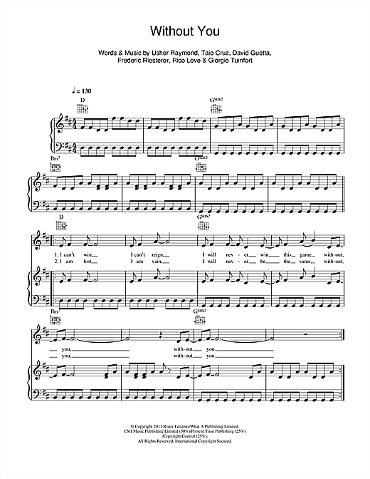 Piano without you piano chords : Without You (feat. Usher) sheet music by David Guetta (Piano ...