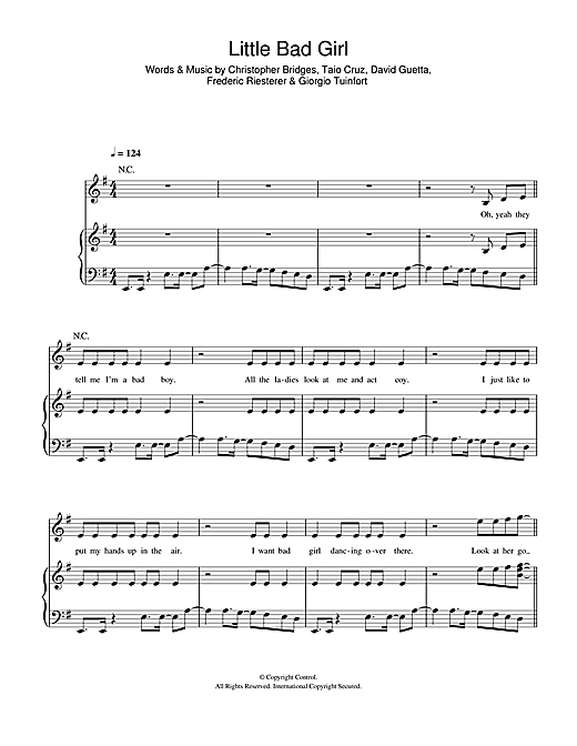 Little Bad Girl (feat. Taio Cruz) Sheet Music