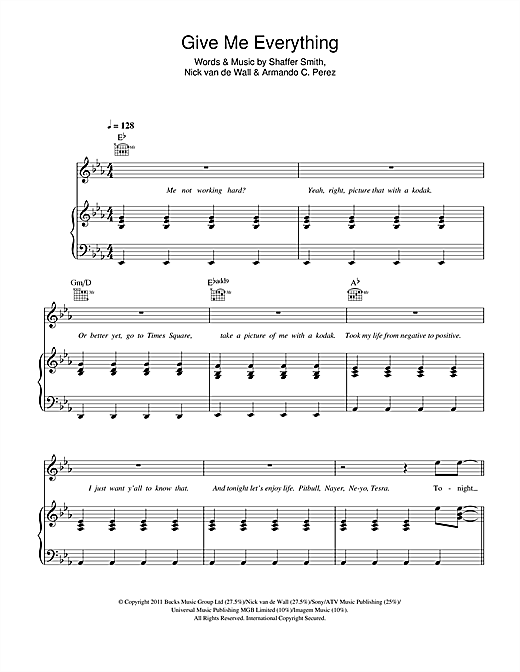 Give Me Everything (Tonight) (feat. Ne-Yo) Sheet Music