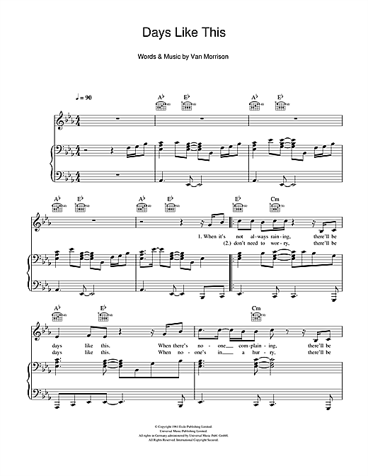 Days Like This Sheet Music