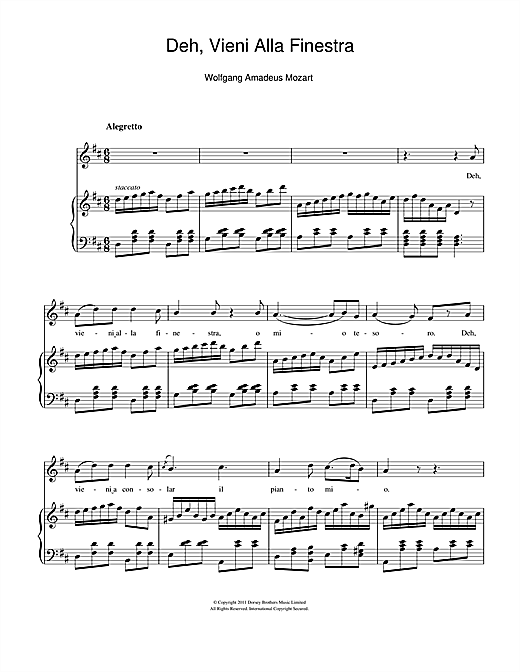 Deh, Vieni Alla Finestra (Serenade) Sheet Music