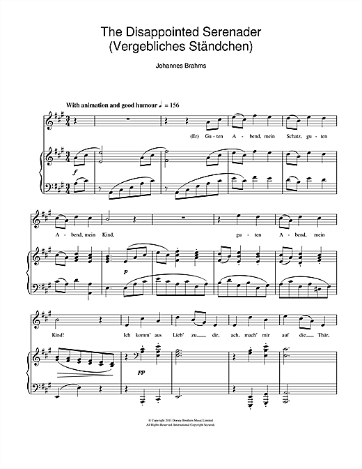 The Disappointed Serenader Sheet Music