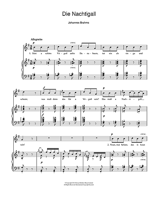 Die Nachtigall Sheet Music