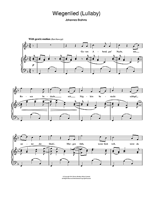 Wiegenlied (Lullaby) Sheet Music
