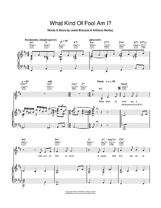 What Kind Of Fool Am I (from Stop The World, I Want To Get Off) Sheet Music
