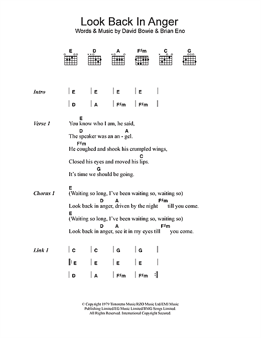 Look Back In Anger (Guitar Chords/Lyrics)