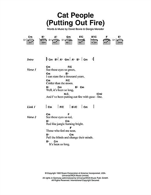 Cat People (Putting Out Fire) Sheet Music