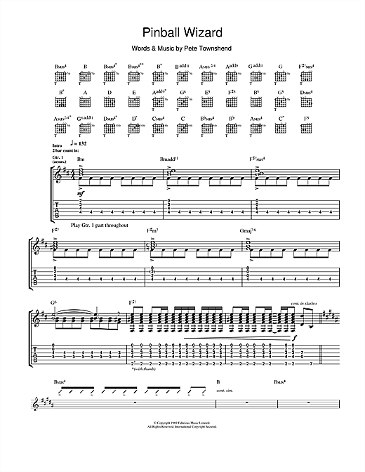 Tablature guitare Pinball Wizard de The Who - Tablature Guitare