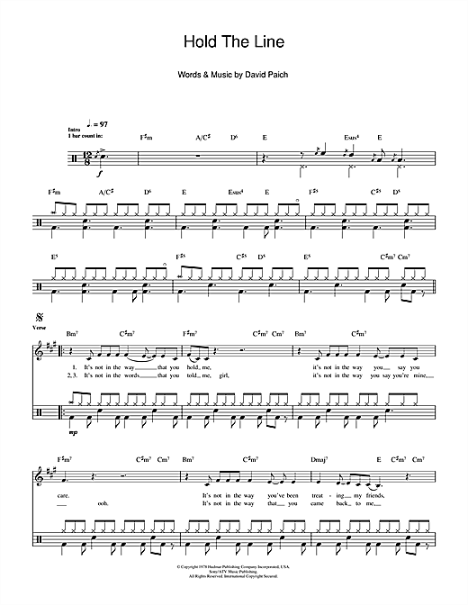 Hold The Line Sheet Music
