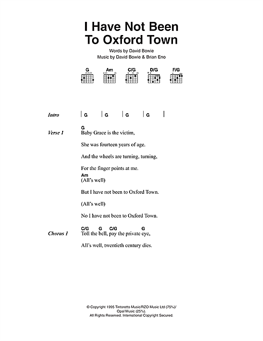 I Have Not Been To Oxford Town Sheet Music
