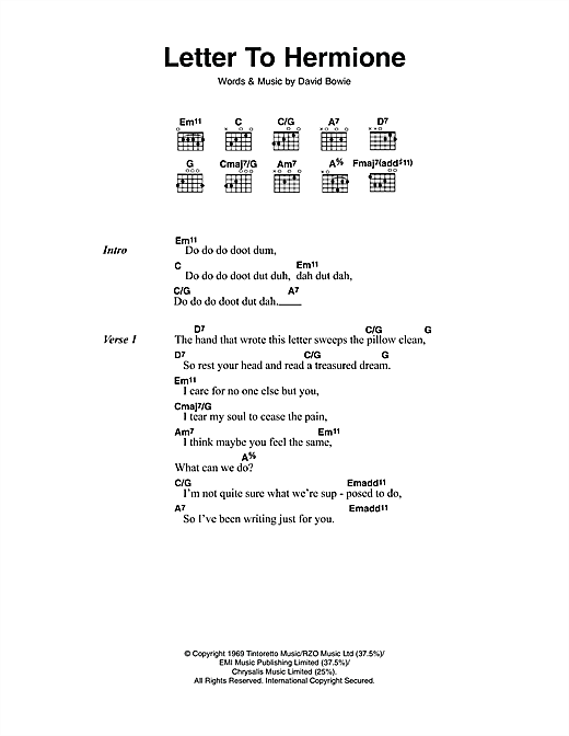 Letter To Hermione Sheet Music By David Bowie Lyrics Chords 112244