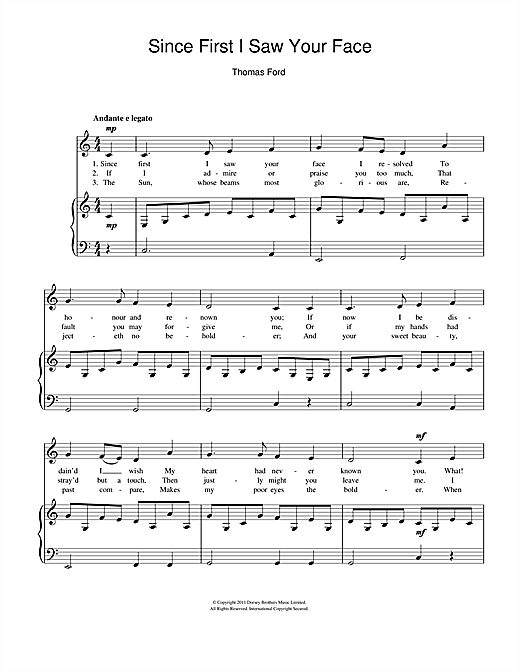 Since First I Saw Your Face Sheet Music