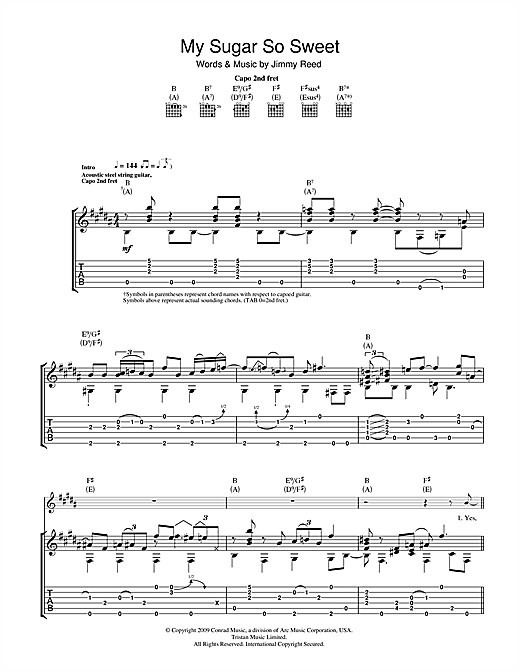 Tablature guitare My Sugar So Sweet de Nick Drake - Tablature Guitare