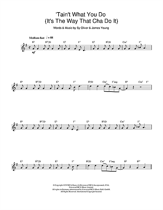 'Tain't What You Do (It's The Way That Cha Do It) Sheet Music