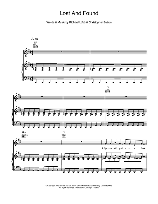 Lost And Found Sheet Music