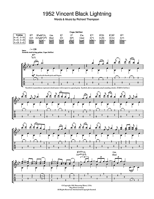 1952 Vincent Black Lightning Guitar Tab by Richard Thompson (Guitar ...