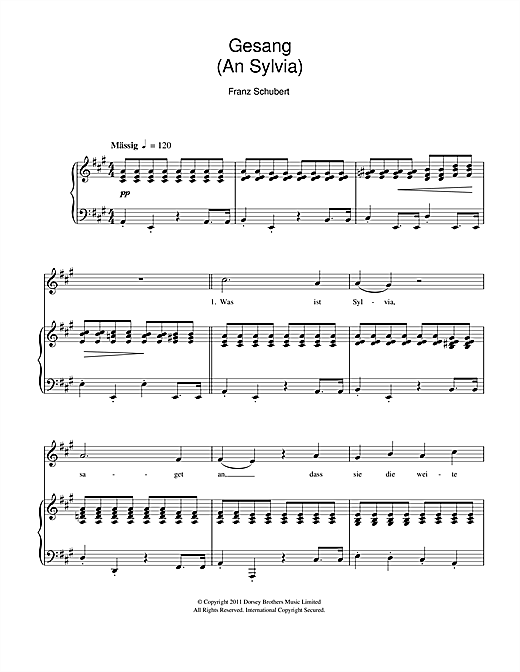 Gesang An Sylvia Sheet Music