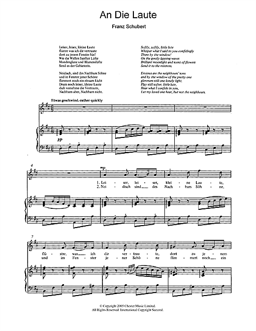 An Die Laute (To The Lute) Op.81 No.2 Sheet Music