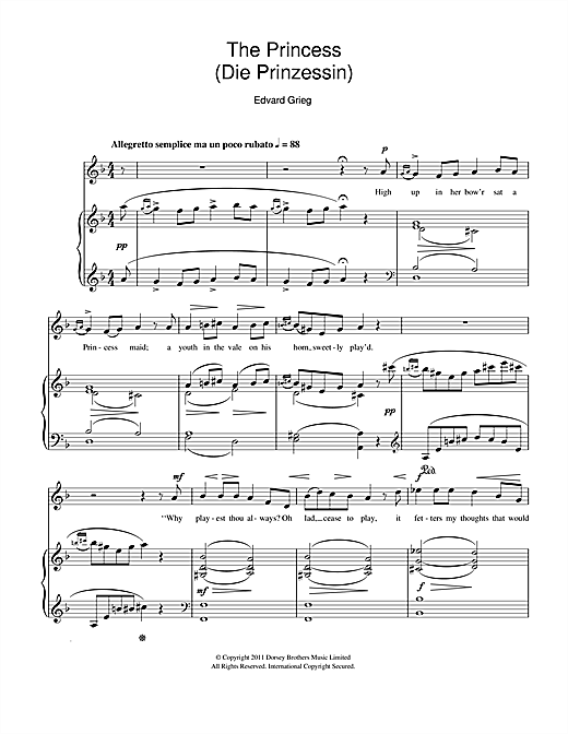Partition piano The Princess (Die Prinzessin) de Edvard Grieg - Piano Voix