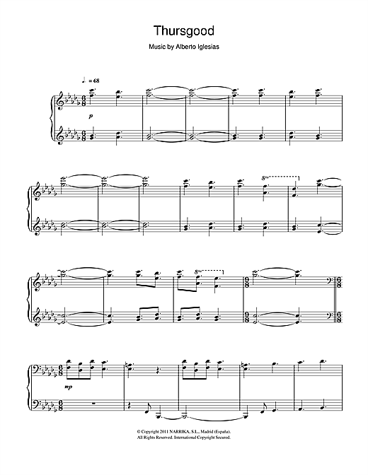 Partition piano Thursgood de Alberto Iglesias - Piano Solo