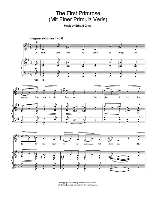 The First Primrose (Mit Einer Primula Veris) Sheet Music