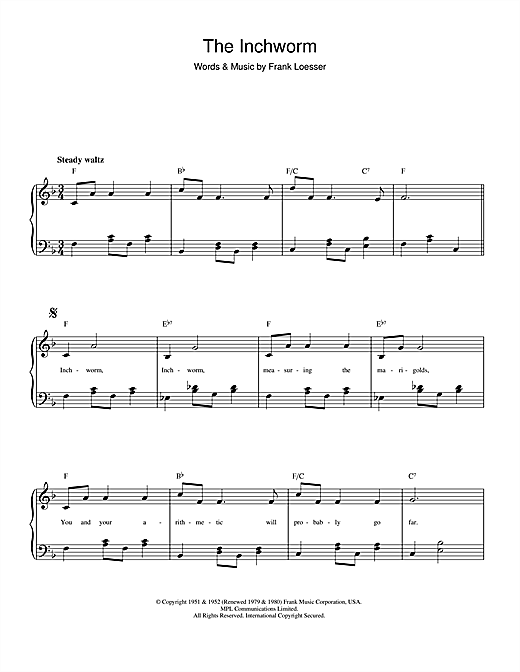 The Inchworm Sheet Music