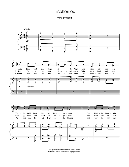 Tischlerlied Sheet Music