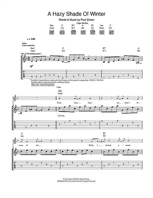 A Hazy Shade Of Winter (Guitar Tab)