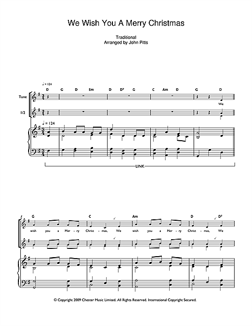 We Wish You A Merry Christmas Ukulele Chords.We Wish You A Merry Christmas Recorder Print Sheet Music Now