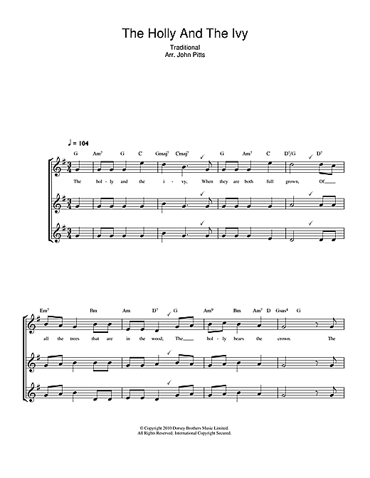 The Holly And The Ivy Sheet Music