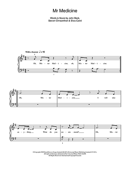 Mr Medicine Sheet Music