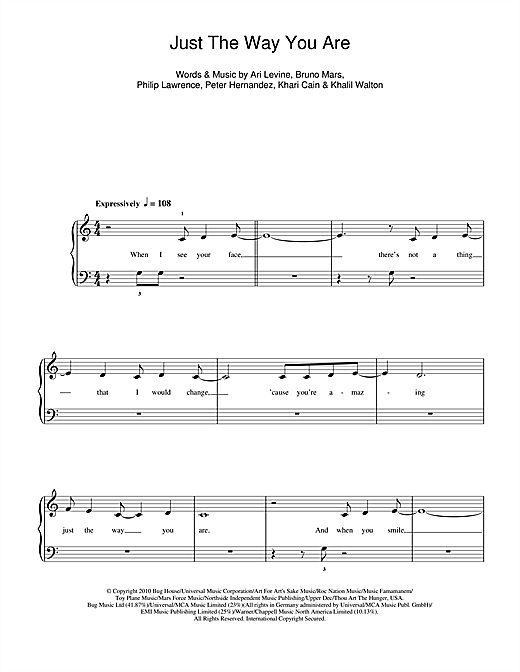 Partition piano Just The Way You Are de Bruno Mars - Piano Facile