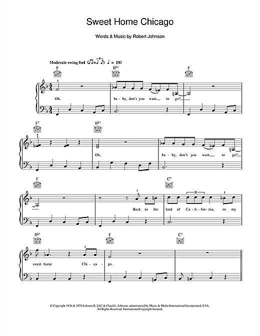 Sweet Home Chicago Sheet Music
