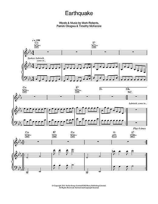 Earthquake (feat. Tinie Tempah) Sheet Music