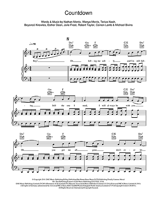 Countdown Sheet Music