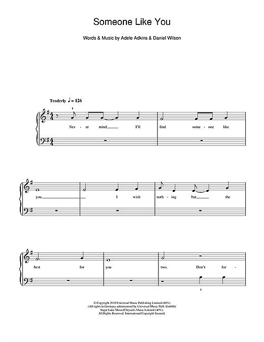 Someone Like You Sheet Music By Adele 5 Finger Piano 112472