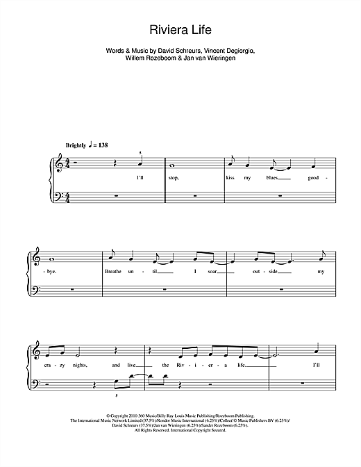 Riviera Life Sheet Music