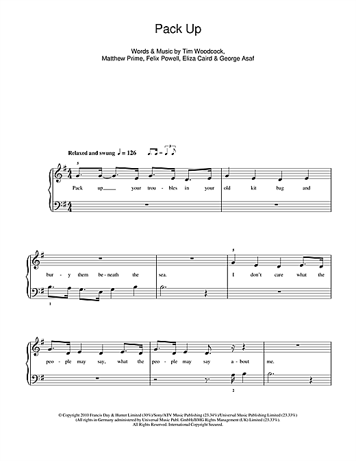 Pack Up Sheet Music