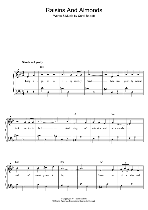 Raisins And Almonds Sheet Music