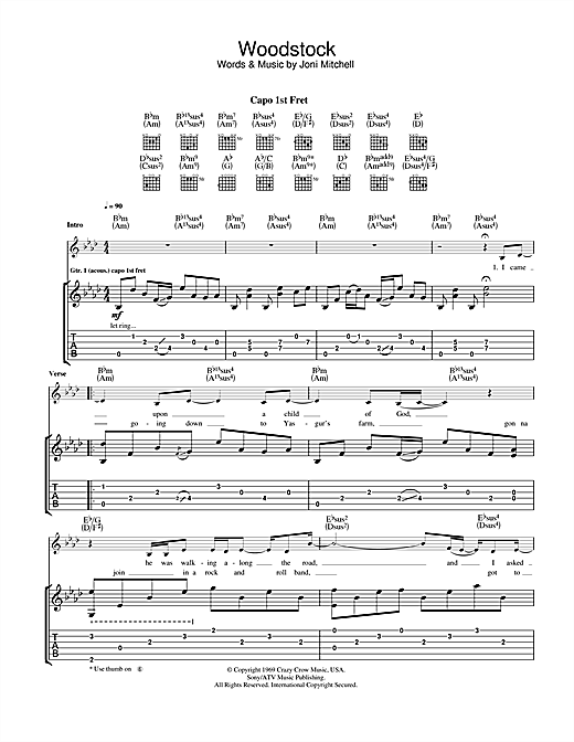 Woodstock Guitar Tab By Eva Cassidy Guitar Tab 112519