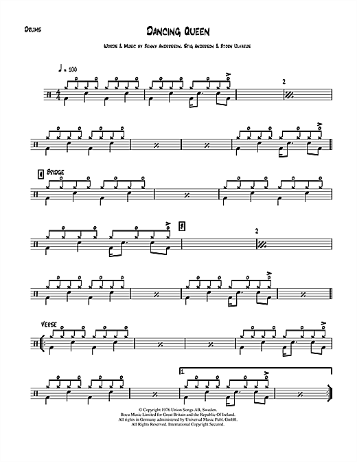 Dancing Queen drum tab by by ABBA (Drums – 112523)