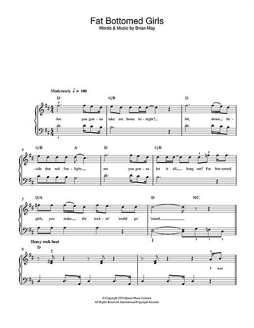 Fat Bottomed Girls Sheet Music