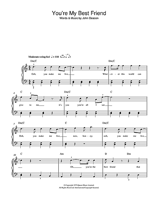 You're My Best Friend Sheet Music